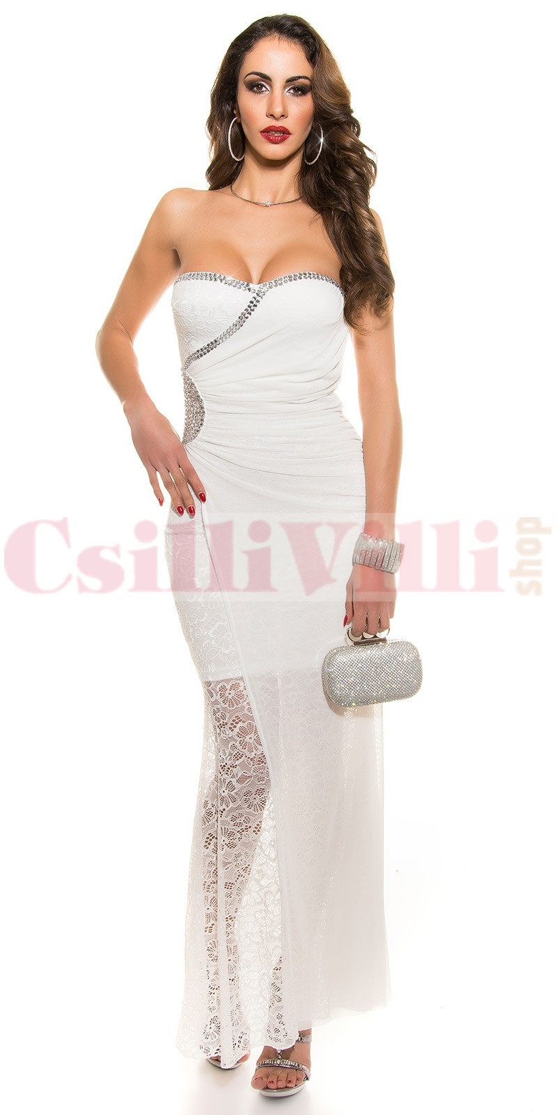 3b04bb83b4 Elegáns, csipkés hosszú ruha - CsilliVilliShop.hu